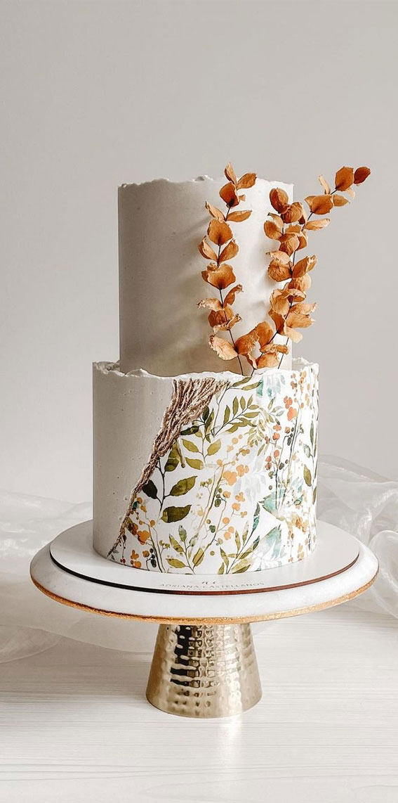 34 Creative Wedding Cakes That Are So Pretty : Floral Painted Buttercream Wedding Cake