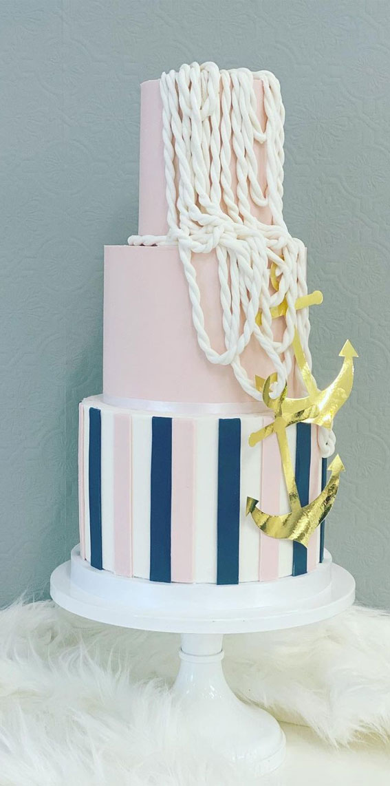 34 Creative Wedding Cakes That Are So Pretty : Navy and Pink Nautical beauty