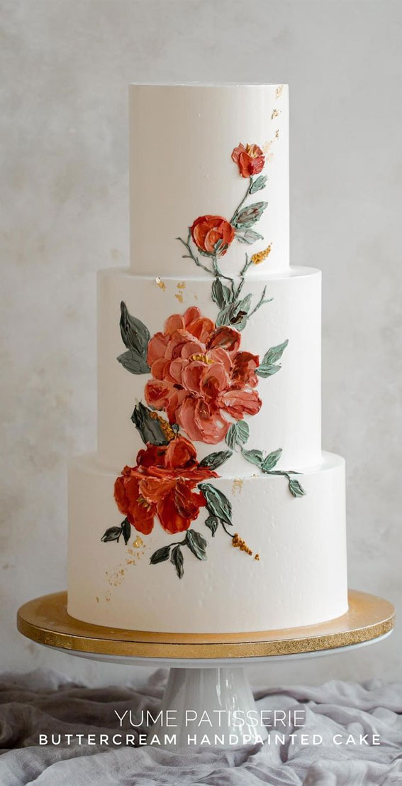 34 Creative Wedding Cakes That Are So Pretty : Three-tiered edgy buttercream