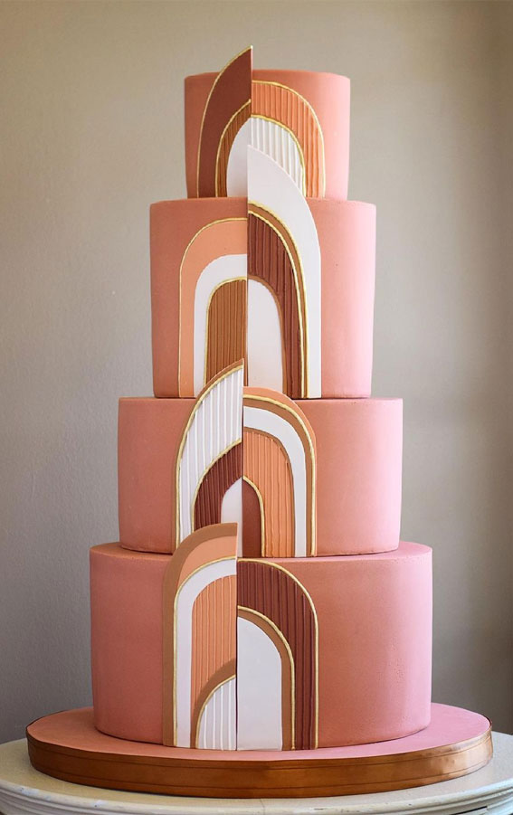 34 Creative Wedding Cakes That Are So Pretty : Art Decor Warm Tone Cake