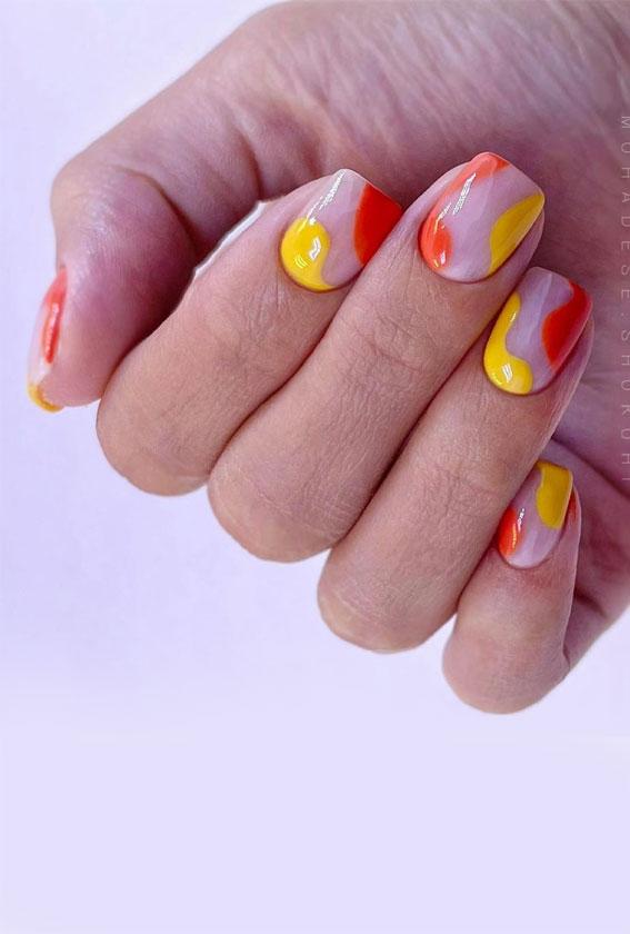 negative space nail art, short summer nails, short summer nails 2021, summer nails 2021 acrylic, summer gel nails, summer nail art designs, summer nail trends, bright summer nails