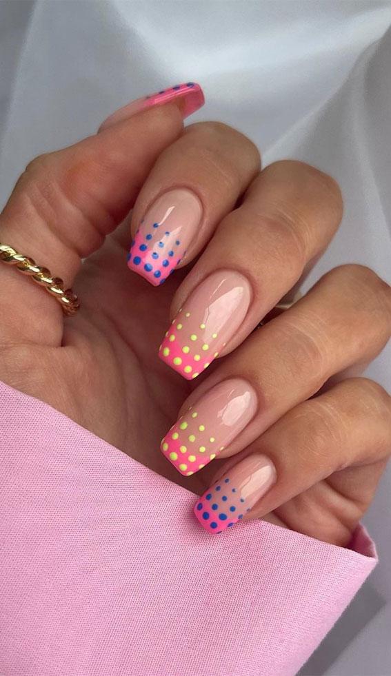 polkadot french tips, polka dot french tips, summer nails , summer nails 2021, summer nail designs 2021