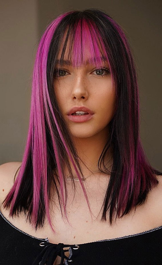 25 Cute Haircuts with Trendy Hair Color Ideas : Black and Pink Two Tone Hair