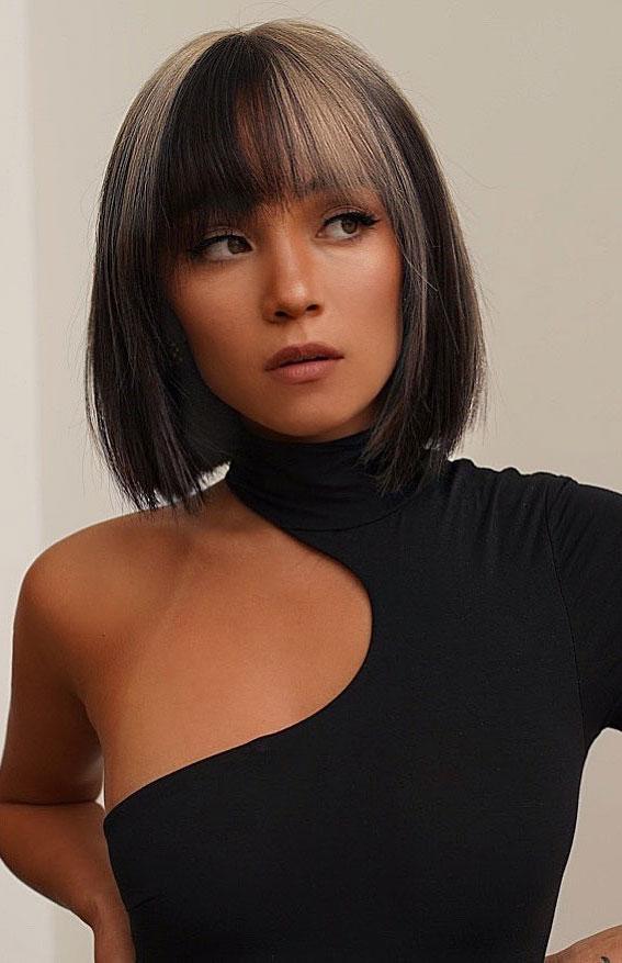 25 Cute Haircuts with Trendy Hair Color Ideas : Black and Blonde Bob Haircut