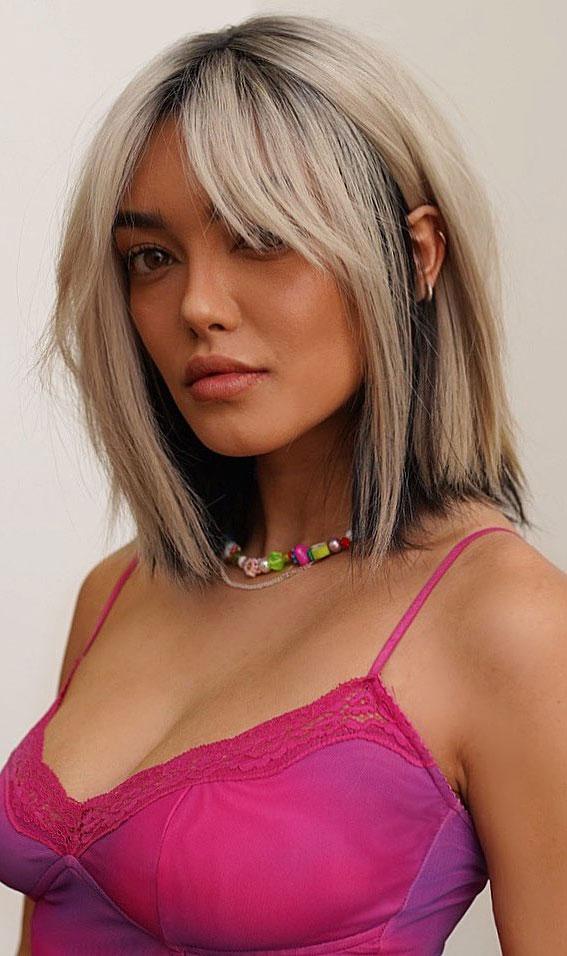 25 Cute Haircuts with Trendy Hair Color Ideas : Collar Bone Two Tone Hair Color