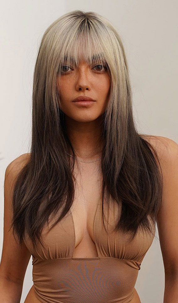 25 Cute Haircuts with Trendy Hair Color Ideas : Reverse Haircut with Bangs