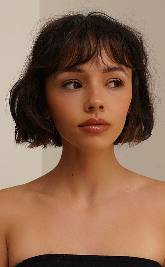 25 Cute Haircuts with Trendy Hair Color Ideas : Soft Stacked French Bob Haircut