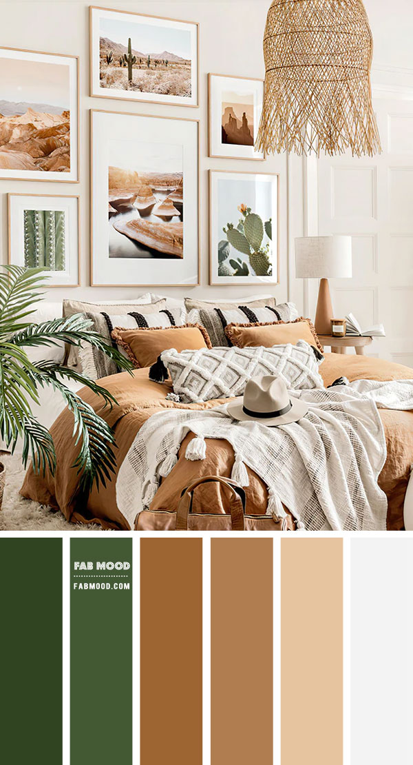 14 Beautiful Bedroom Colour Schemes : Brown and Green Boho Bedroom