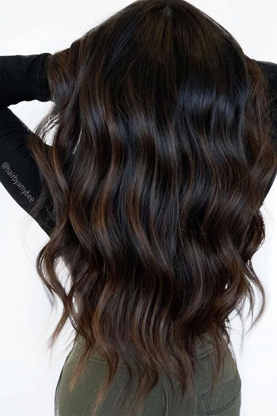 25 Dark Chocolate Brown Hair Ideas : Dark Chocolate Long Layer