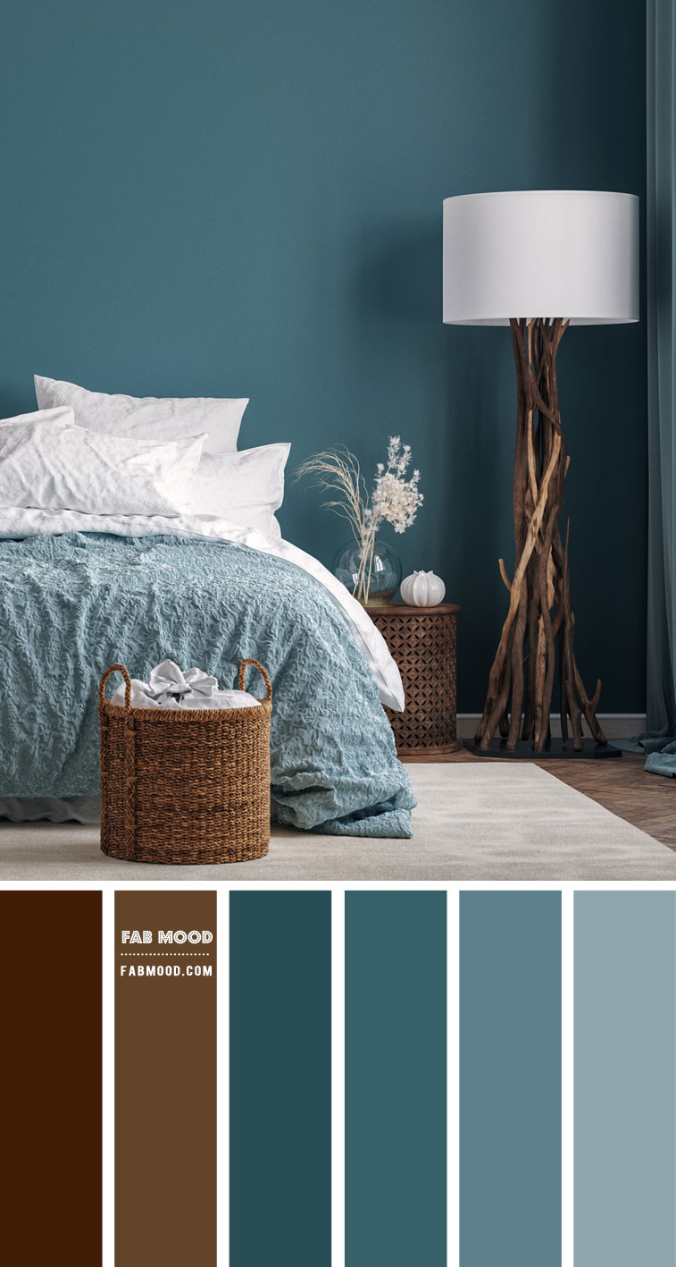 14 Beautiful Bedroom Colour Schemes : Brown and Teal Bedroom