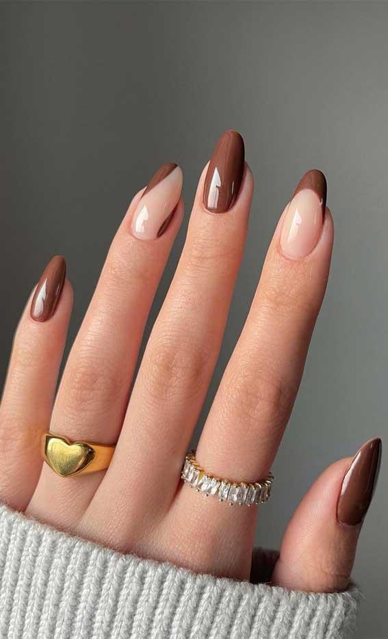 cute autumn nails, autumn nails 2021, autumn nail trends, brown nail art designs