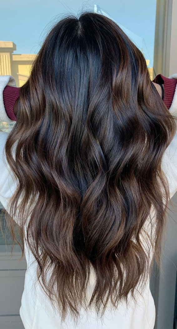 25 Dark Chocolate Brown Hair Ideas : Hand painted brown balayage