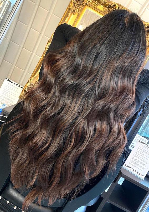 25 Dark Chocolate Brown Hair Ideas : Dark Chocolate Caramel Wavy Long Hair
