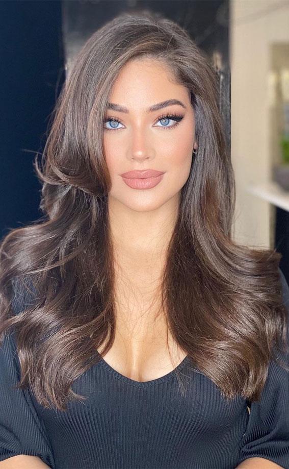 25 Dark Chocolate Brown Hair Ideas : Glossy Dark Chocolate Hair