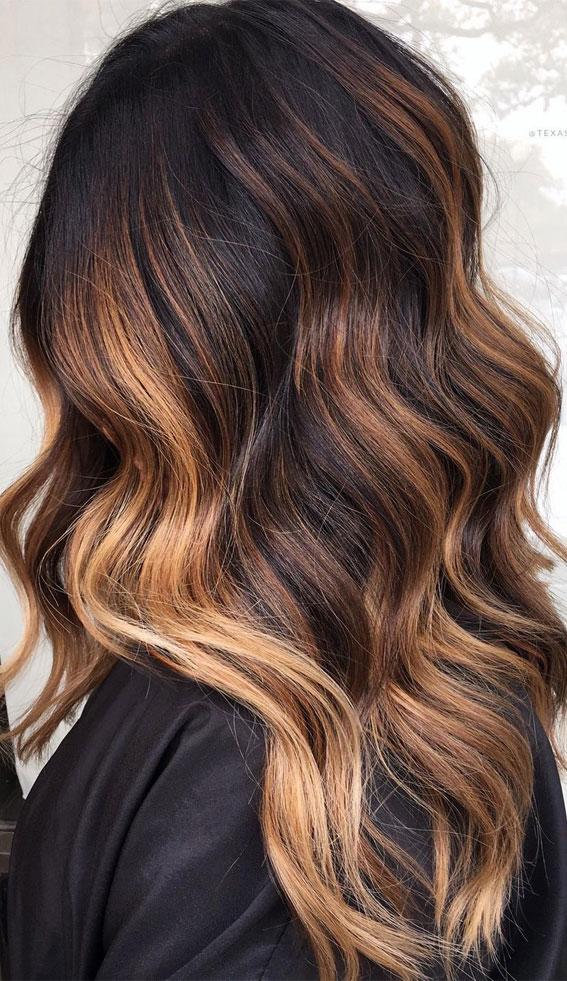 25 Dark Chocolate Brown Hair Ideas : Dark Chocolate with Golden Blonde
