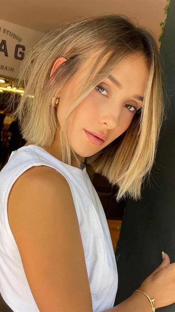 35 Best Fall 2021 Hair Color Trends : Dark To Golden Blonde Bob Hairstyle