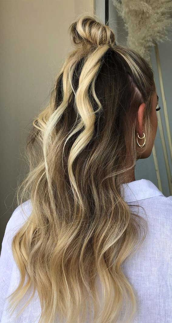 35 Best Fall 2021 Hair Color Trends : High Contrast Dark Chocolate and Bright Blonde