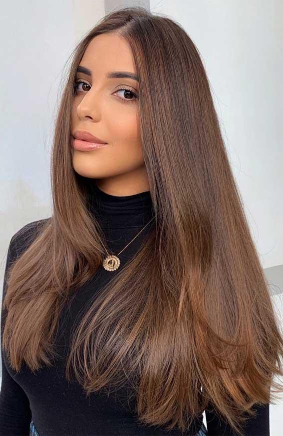 35 Best Fall 2021 Hair Color Trends : Sleek Chestnut Brown Hair