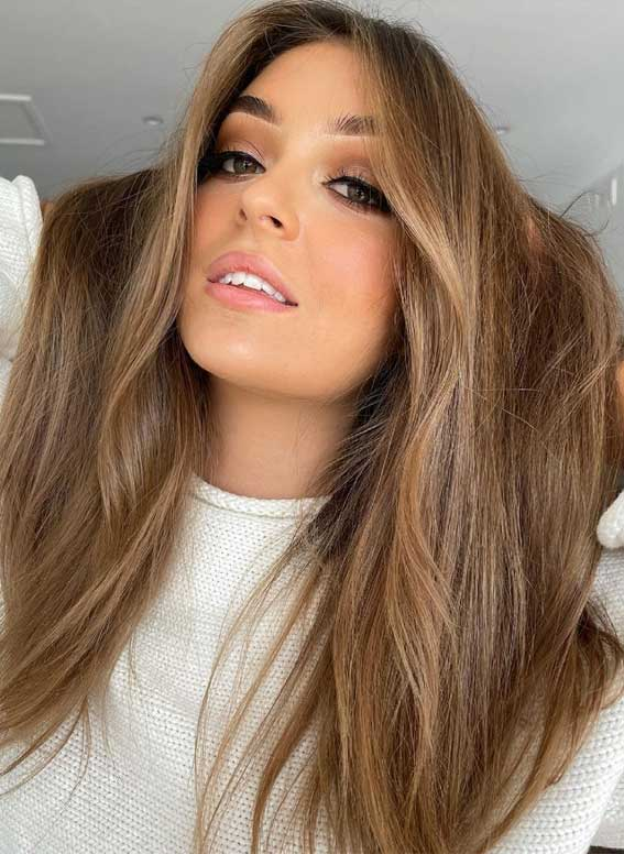 35 Best Fall 2021 Hair Color Trends : Light Peanut Butter Brown Hair