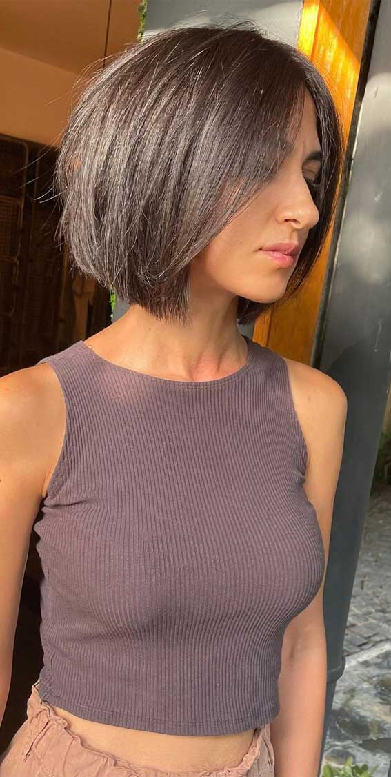 35 Best Fall 2021 Hair Color Trends : Brunette Bob Hairstyle