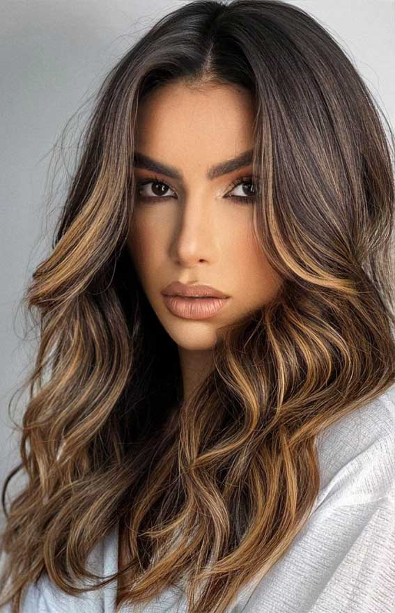 dark chocolate with cappuccino highlights, lightened brunette, fall hair color trends 2021