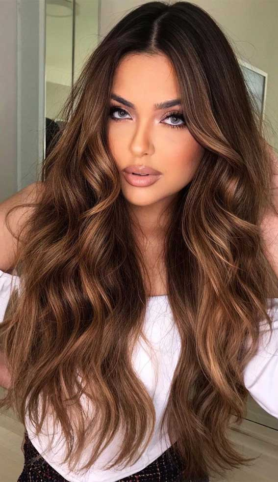 hazelnut hair color, dark chocolate with cappuccino highlights, lightened brunette, fall hair color trends 2021