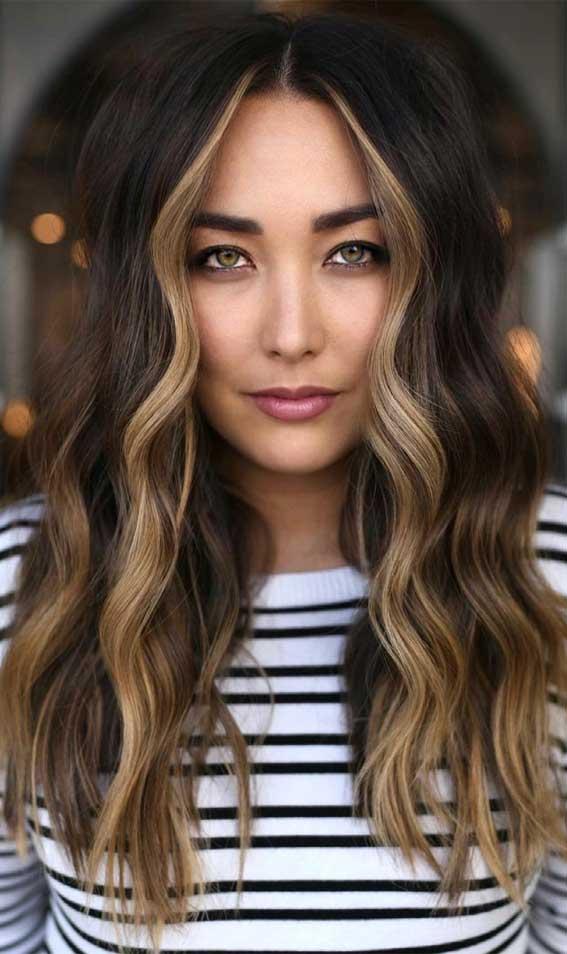 dark chocolate hair color with caramel highlights, dark chocolate fall hair color, fall hair color trends 2021, dark chocolate caramel face framing