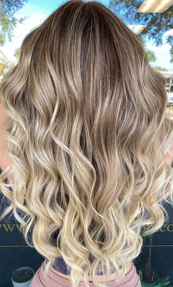 35 Best Fall 2021 Hair Color Trends : Bronde To Blonde Color Melt