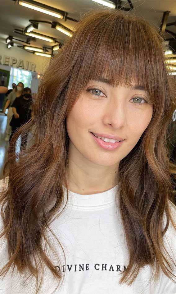 35 Best Fall 2021 Hair Color Trends : Milky Chocolate Brown Medium Haircut with Fringe