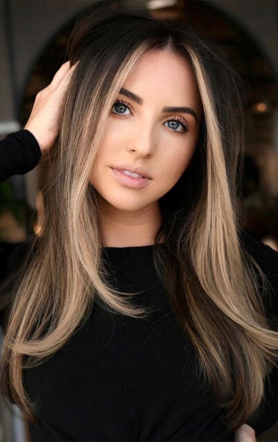 dark chocolate hair with blonde face framing, blonde face framing , long hair with blonde highlights