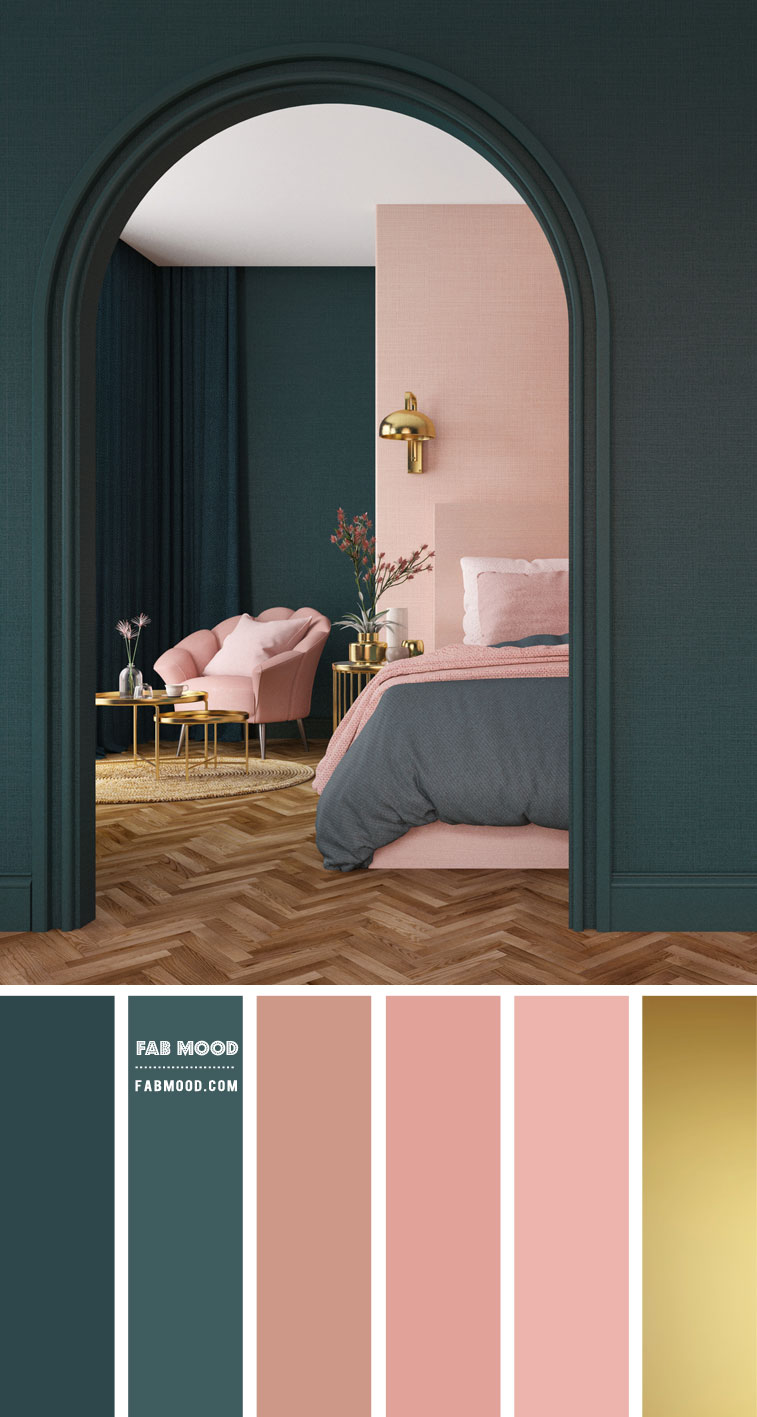14 Beautiful Bedroom Colour Schemes : Green and Blush Pink Bedroom