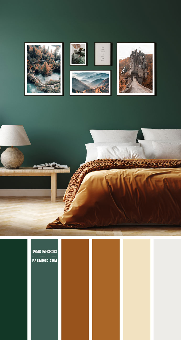 14 Beautiful Bedroom Colour Schemes : Brown and Green Bedroom