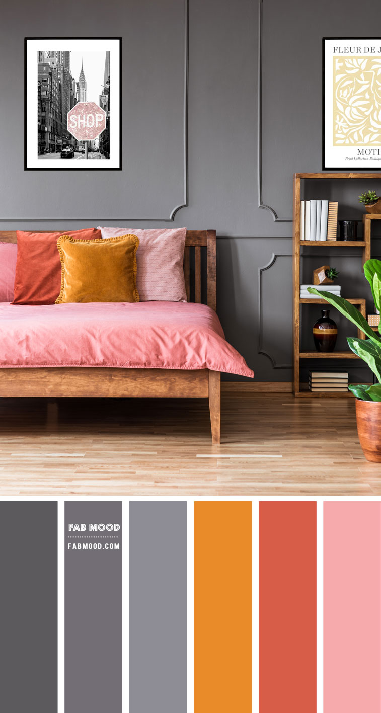 14 Beautiful Bedroom Colour Schemes : Grey and Pink Colour Scheme