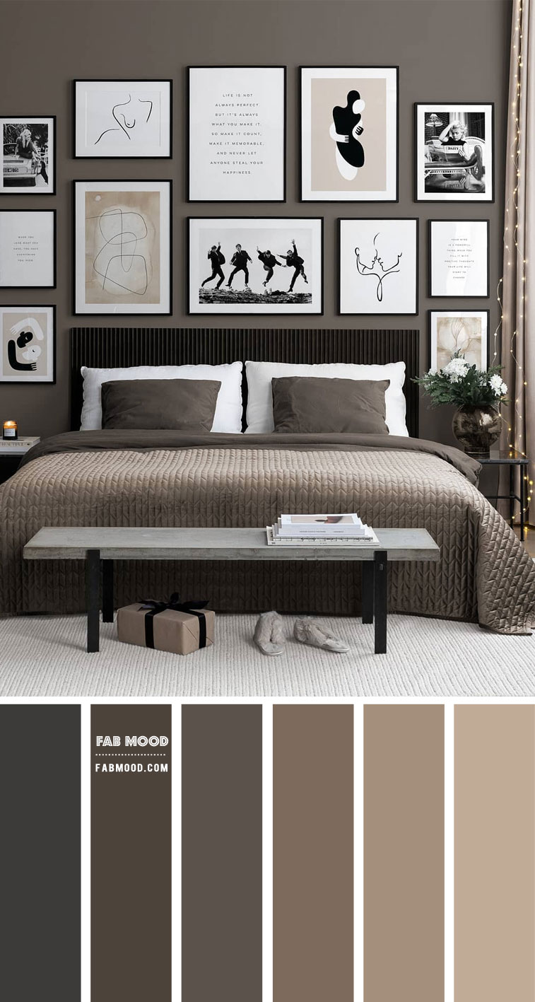 14 Beautiful Bedroom Colour Schemes : Grey and Muted Taupe Colour Palette
