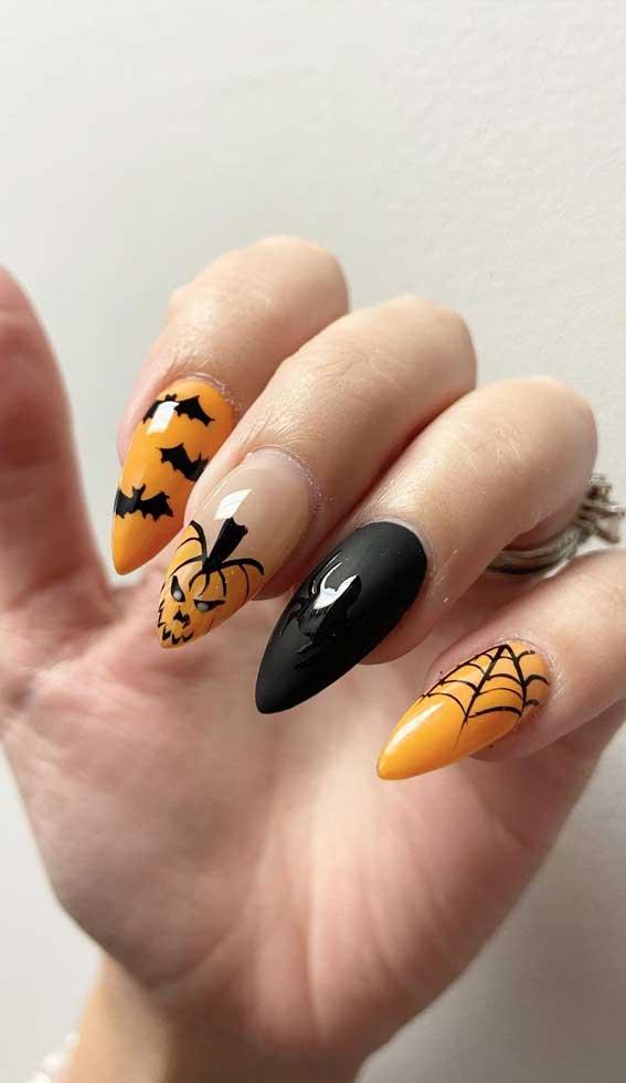 black and orange halloween nails, halloween nail art, halloween nail designs 2021