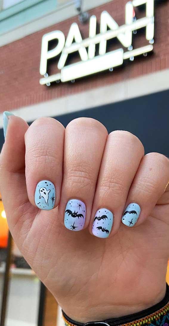 baby blue halloween nails, halloween nail art, halloween nail designs 2021