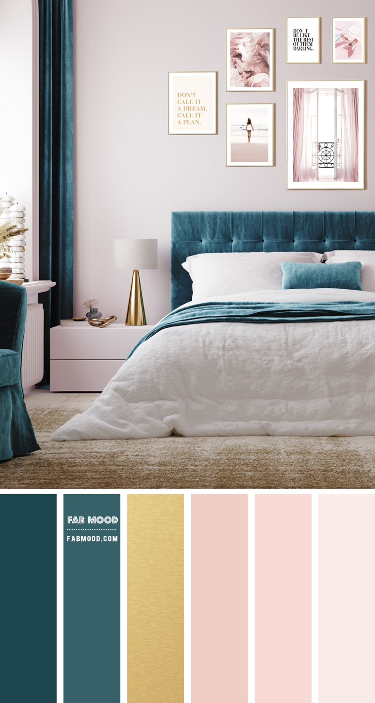 pink and teal bedroom, pink and teal color scheme, blush pink and teal color combo