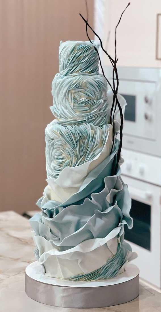 40 Pretty & New Wedding Cake Trends 2021 : Elegant Blue Swirl Wedding Cake