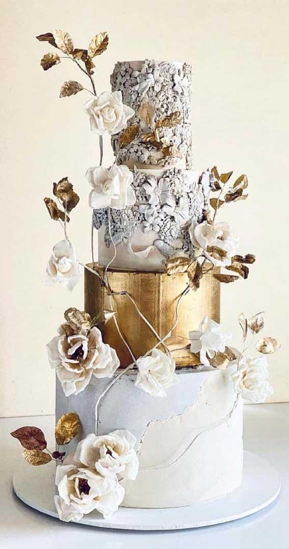 40 Pretty & New Wedding Cake Trends 2021 : Grey Concrete and Gold Wedding Cake