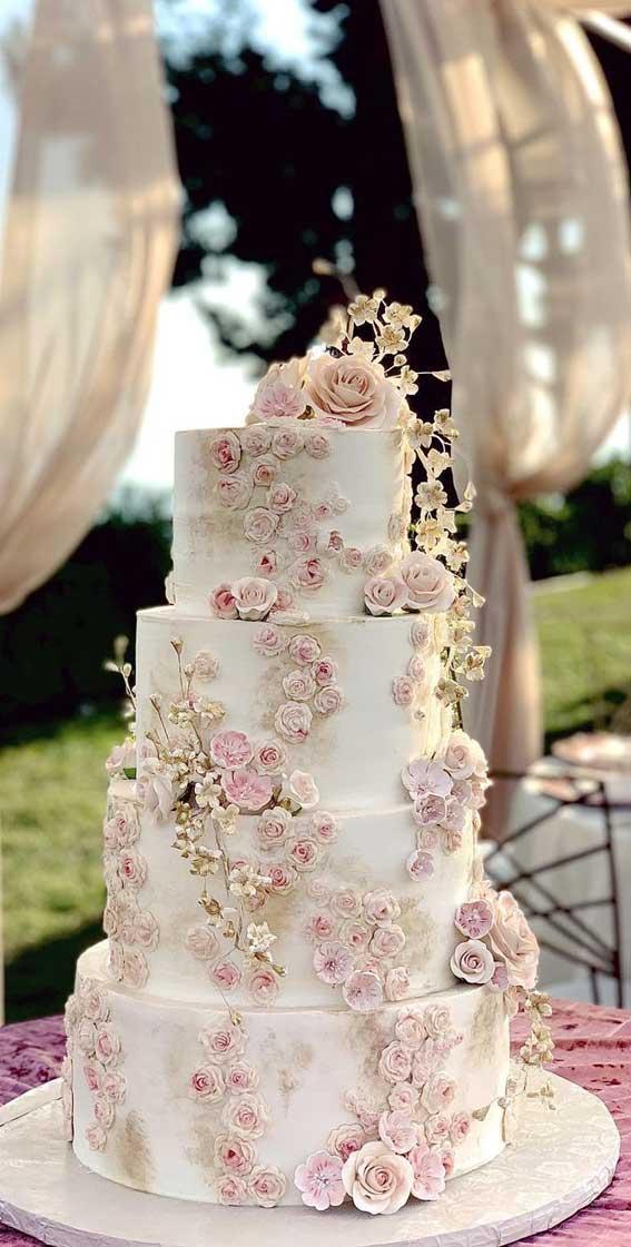 40 Pretty & New Wedding Cake Trends 2021 : Four Tier Cake with Soft Flower Details