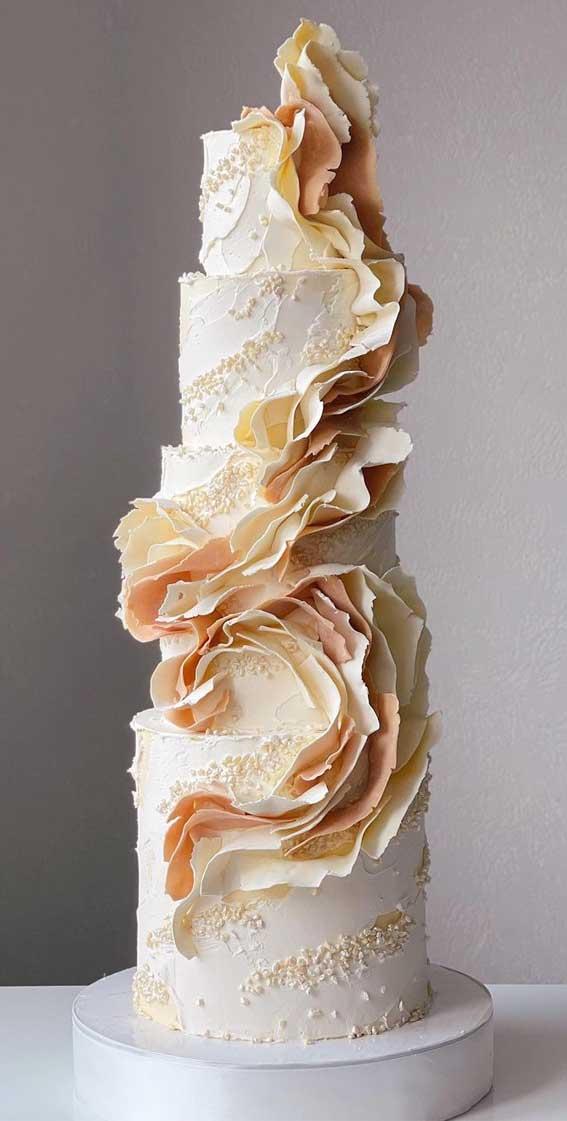 40 Pretty & New Wedding Cake Trends 2021 : Nude Tone Wedding Cake with Ruffle Detailing