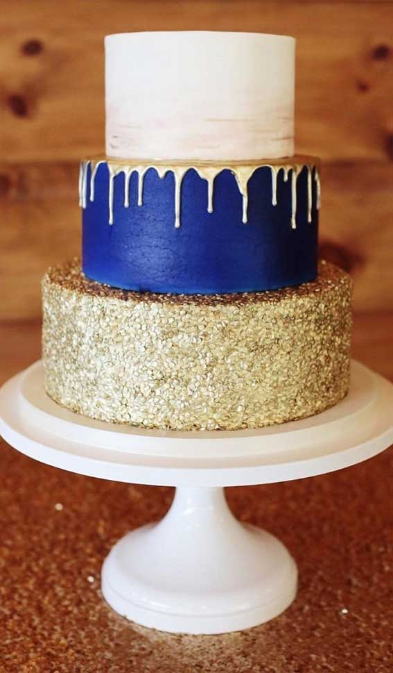 22 Beautiful wedding cakes to inspire you : Blue and Gold Sequin Wedding Cake