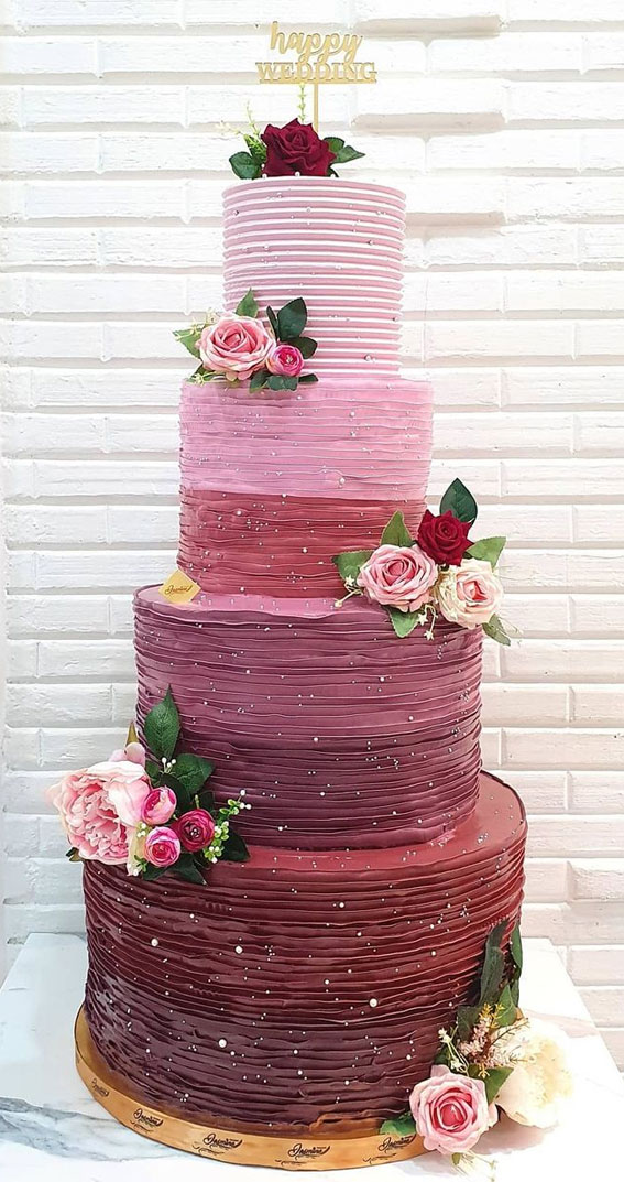 40 Pretty & New Wedding Cake Trends 2021 : Four Tier Ombre Pink & Red Wedding Cake