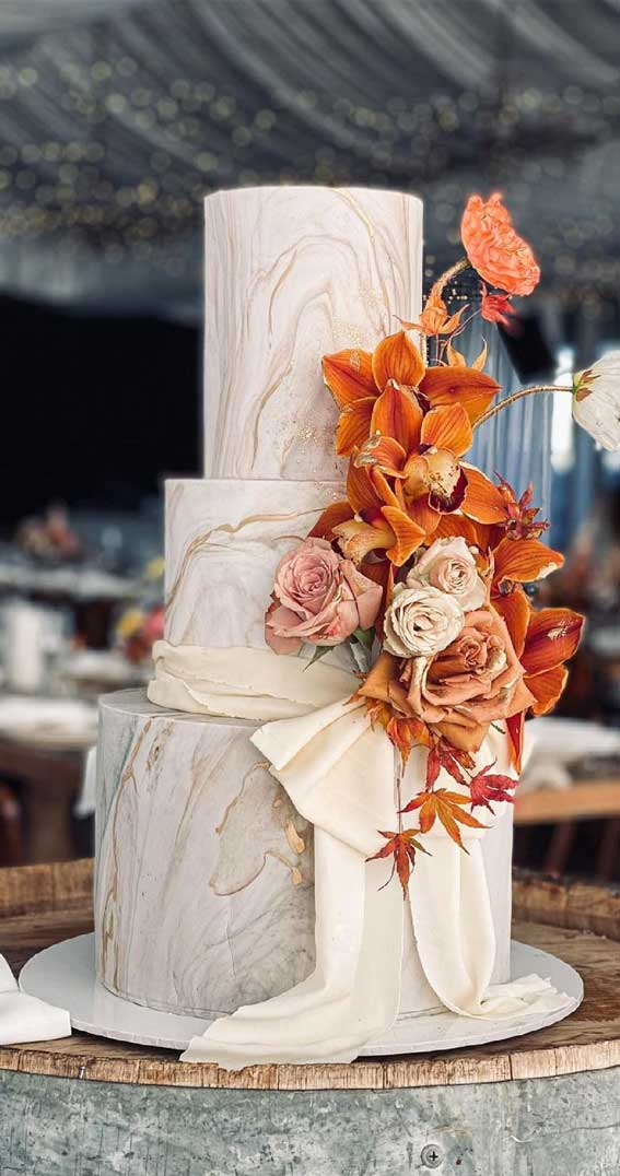 40 Pretty & New Wedding Cake Trends 2021 : Marble Wedding Cake with Rust Colored Flowers