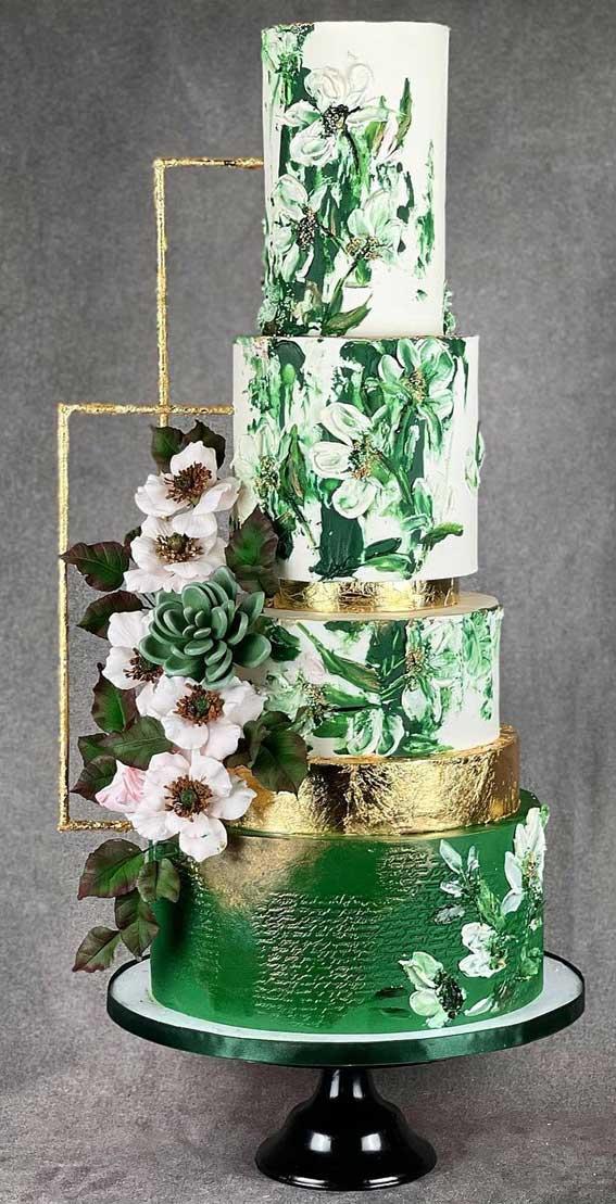 40 Pretty & New Wedding Cake Trends 2021 : Abstract Emerald Wedding Cake