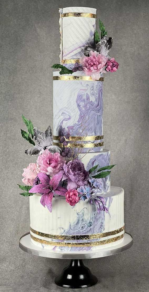 40 Pretty & New Wedding Cake Trends 2021 : Lavender Coloured Marble Wedding Cake