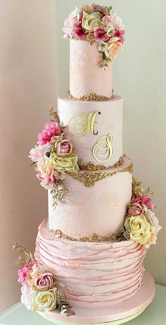 40 Pretty & New Wedding Cake Trends 2021 : Gold and Pink Elegant Wedding Cake