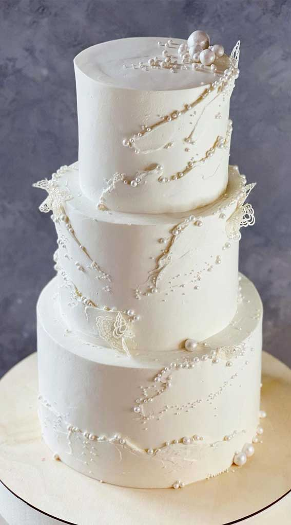 40 Pretty & New Wedding Cake Trends 2021 : White Contemporary Cake