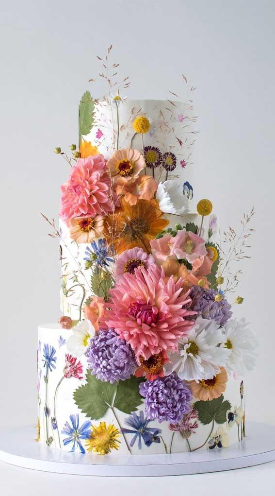 40 Pretty & New Wedding Cake Trends 2021 : Garden Flower Inspired Wedding Cake