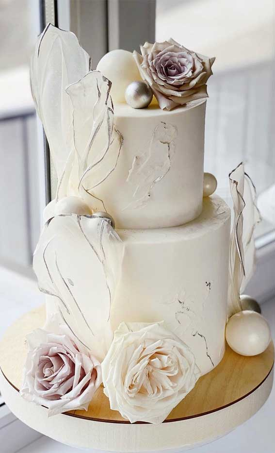 40 Pretty & New Wedding Cake Trends 2021 : White Contemporary Cake with Wafer Papers